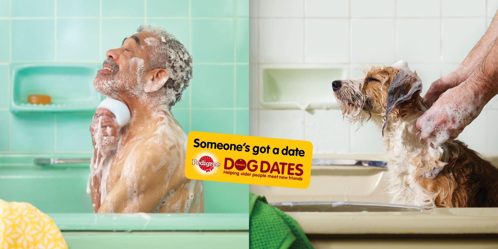 man sitting in green bath tub soapy Shaw and Shaw dog washing Advertising Photographers – doggy dates Pedigree Bath AMVDDBO