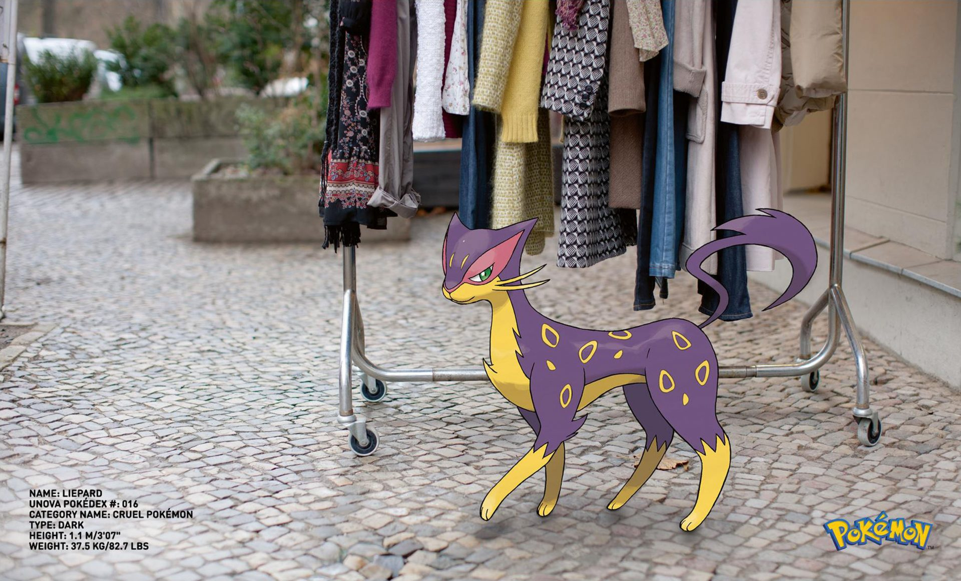 Pokemon Go Liepard cat by clothes rail Cruel Pokemon Dentsu London – Shaw and Shaw advertising photography photographer photographers