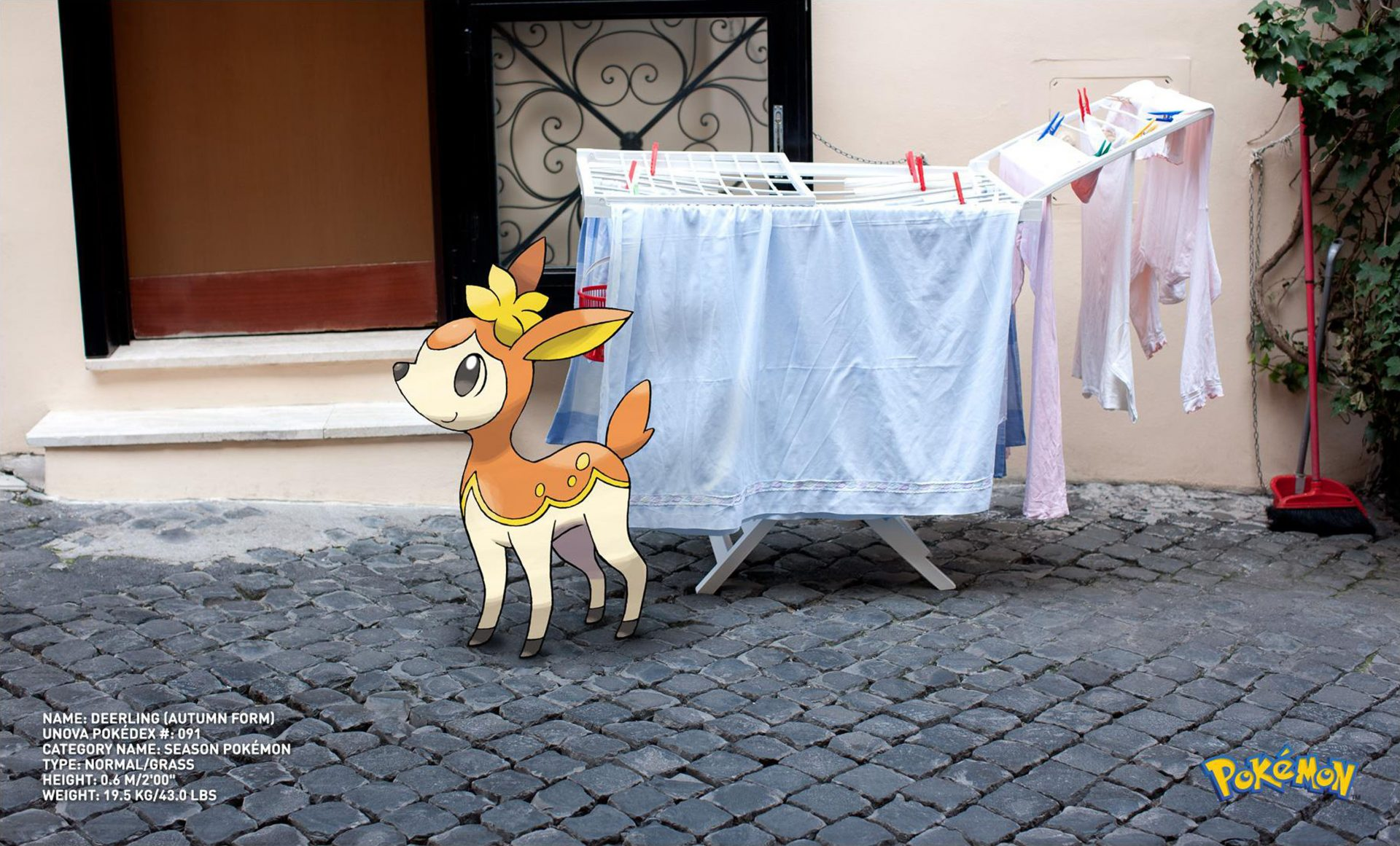 Season Pokemon Go deer with washing stand drying Deerling (Autumn Form) Dentsu London Italy – Shaw and Shaw Photography photographer