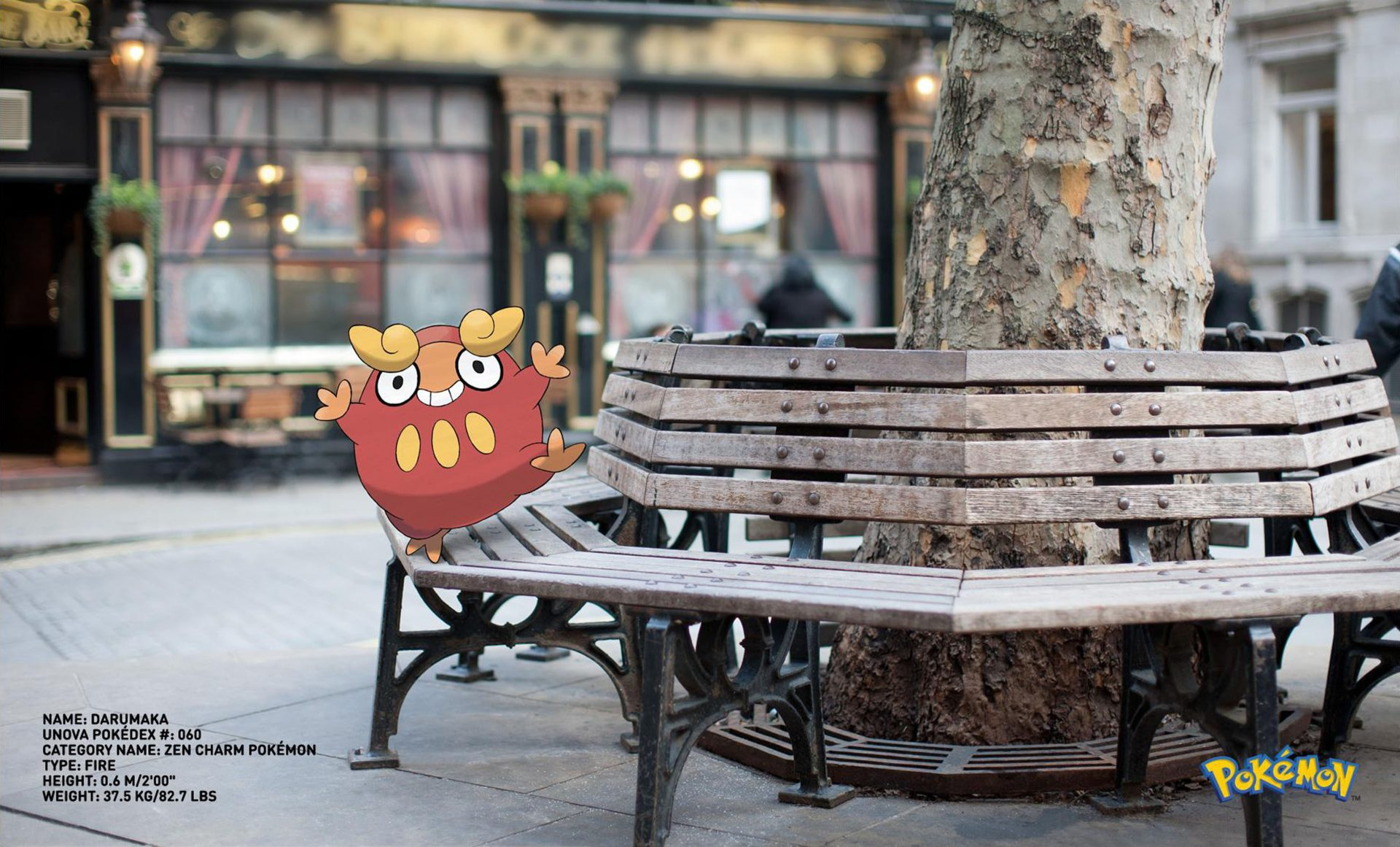 Pokemon Go Darumaka Zen Charm Pokemon on bench Dentsu London Rome Italy – Shaw and Shaw Photography photographer