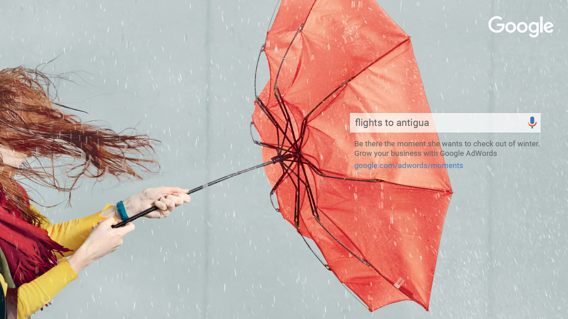 Adam & Eve DDB – woman holding an umbrella inside out won a windy day – Shaw and Shaw Advertising photographers photographer photography – Google to the Rescue