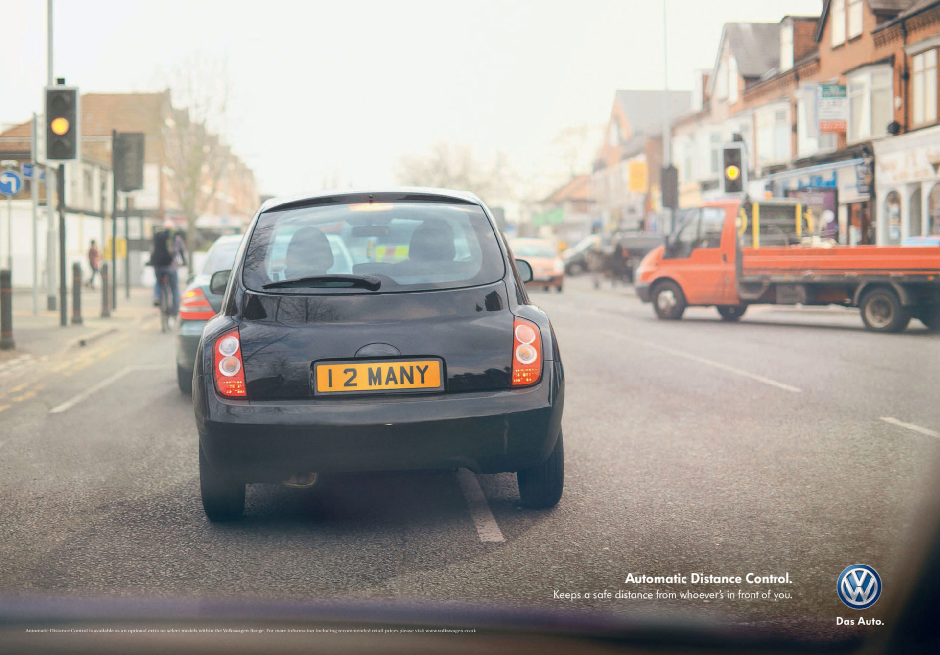 VW – black Volkswagen automatic distance control campaign Adam & Eve DDB – Shaw & Shaw Photography – Shaw and Shaw advertising photographers