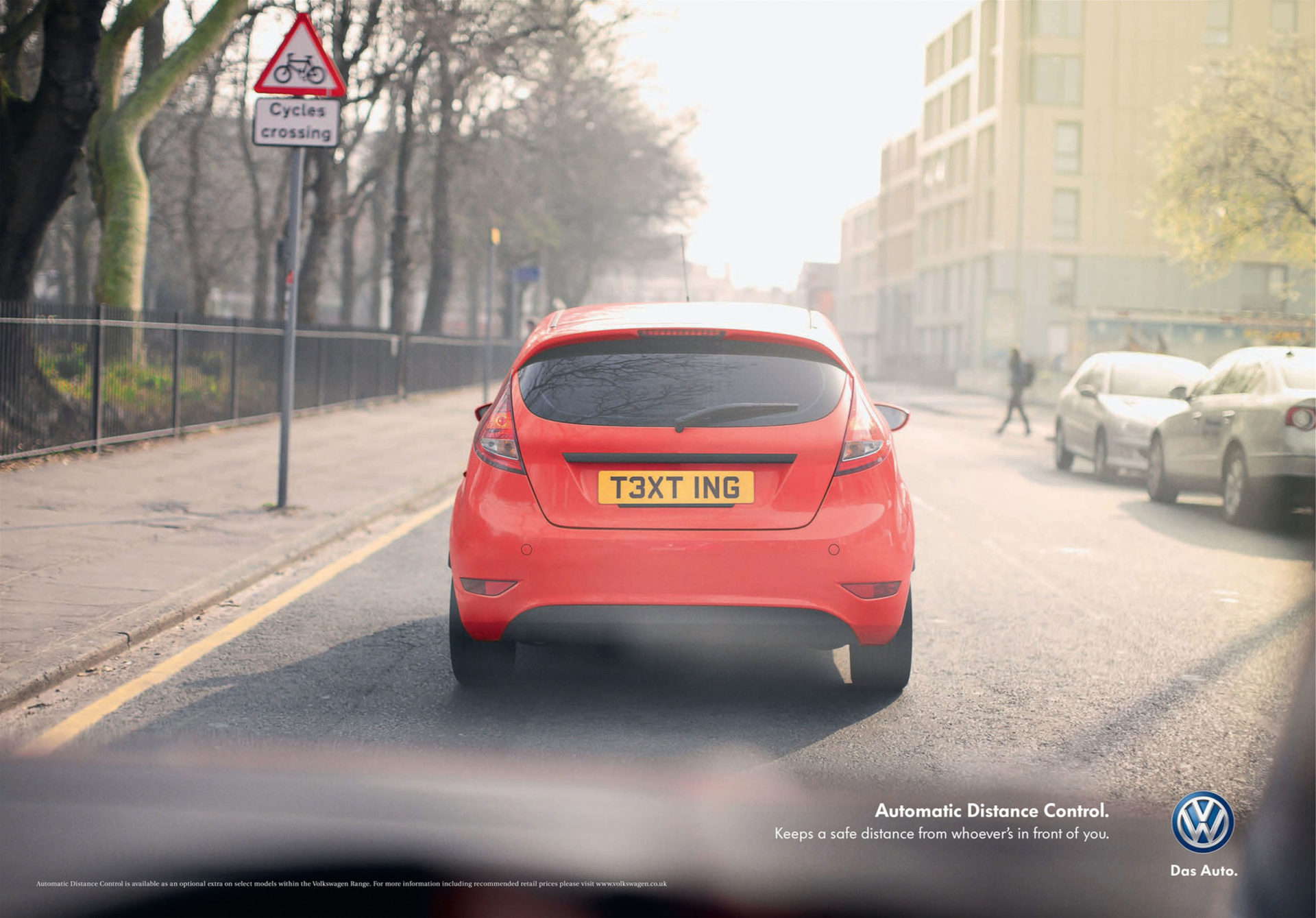 VW – red Volkswagen automatic distance control campaign Adam & Eve DDB – Shaw & Shaw Photography – Shaw and Shaw advertising photographers